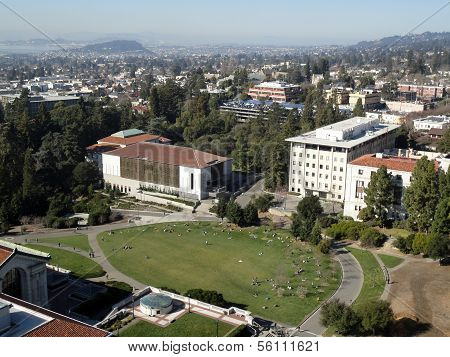 Birds Eye View Of Courtyard, Historic, And Modern Buildings Of Uc Berkeley Campus