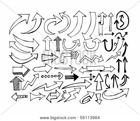 arrows icons set by hand drawing idea