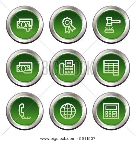 Finance web icons set 2, green circle buttons series