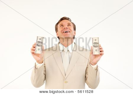 Businessman With Money Looking Upwards