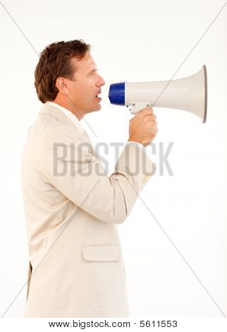 Senior Businessman Speaking Through A Megaphone