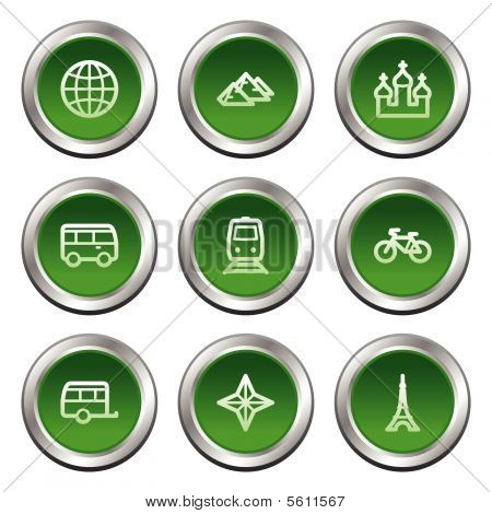 Travel web icons set 2, green circle buttons series
