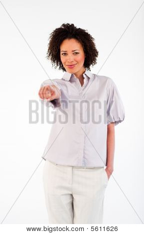 Confident Businesswoman Pointing At The Camera