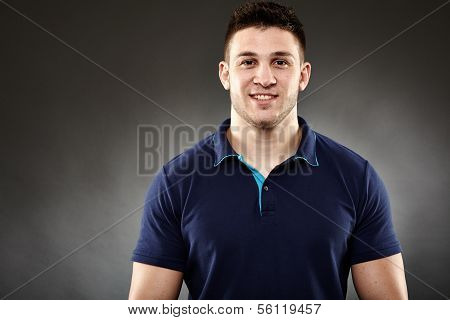 Handsome Man Wearing A Navy Blue T-shirt