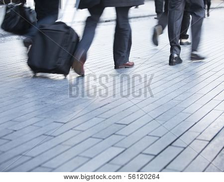 Busy legs of business commuters
