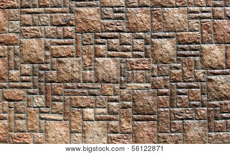 Stone Wall In Block Pattern