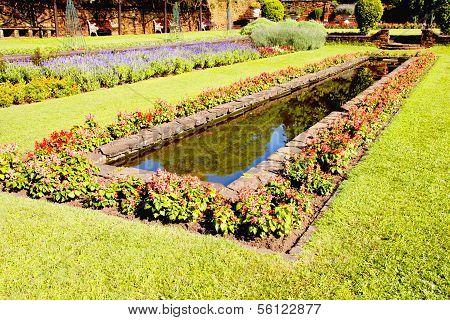Landscaped Formal Garden With Rectangular Fish Pond