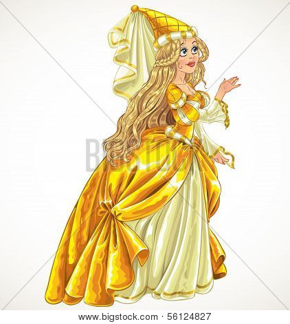 Princess in yellow dress say Yes and give her hand