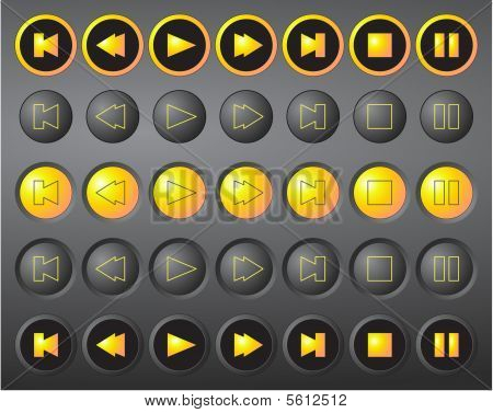 A set of round vector media buttons - black