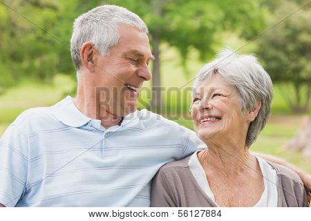 Close-up of a senior woman and man at the park