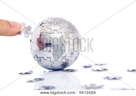 Hand Building Puzzle Globe Together