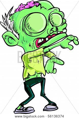 Cartoon teen zombie with skinny jeans. Isolated on white