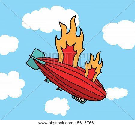 Zeppelin On Fire Falling or Big Failure
