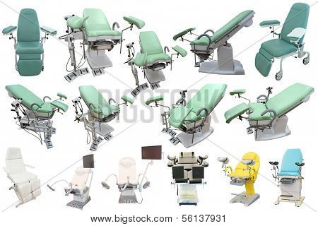 gynecological chairs under the white background
