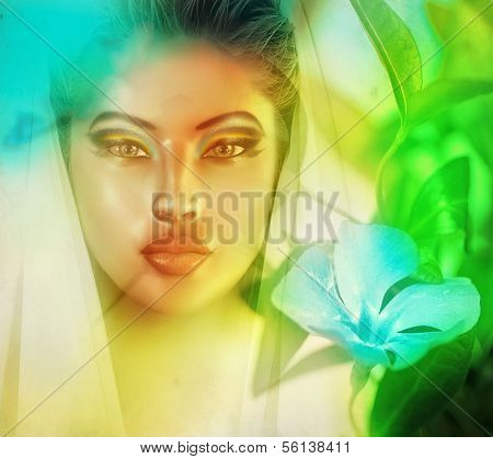 Surreal image of womans face