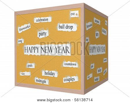 Happy New Year 3D Cube Corkboard Word Concept