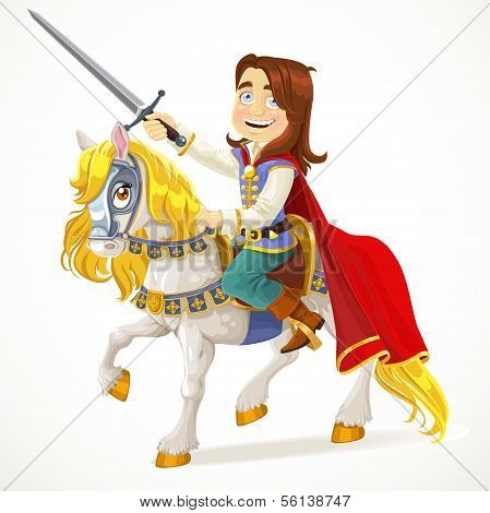 Brave Prince Charming on a white horse