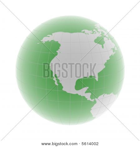 North America On 3D Globe
