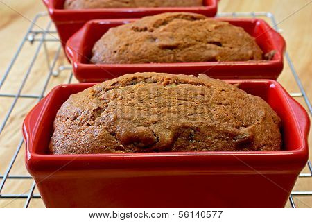 pumpkin chocolate chip bread on a cooling rack