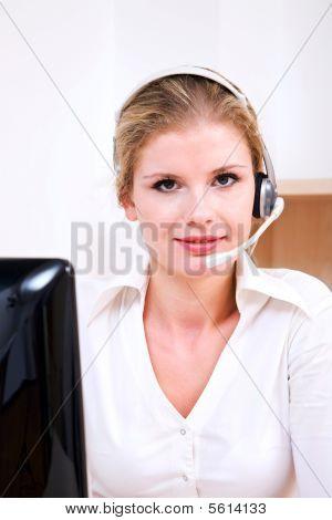 Call Center Operator Working