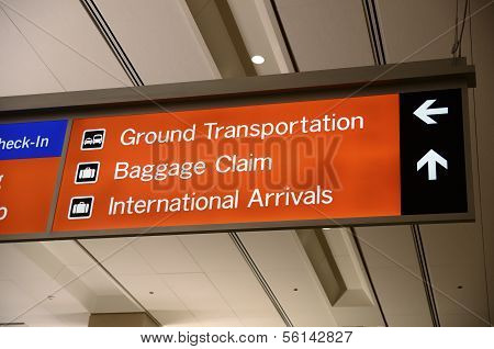 Baggage Claim and Ground Transportation sign