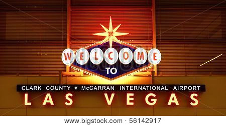 Las Vegas Airport sign at night in Nevada