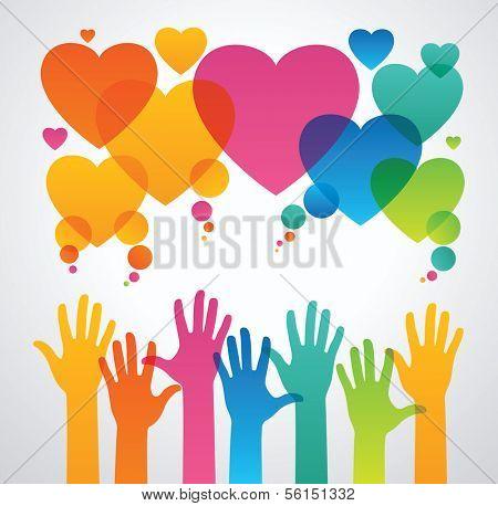 silhuetas de mãos humanas são atraídas para os ícones de corações. o conceito de amor entre as pessoas .the