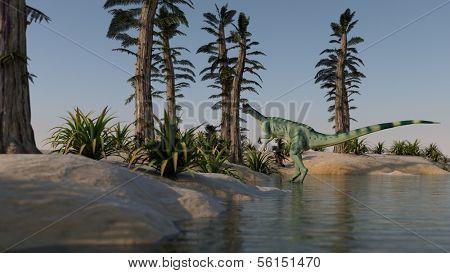 dilophosaurus on shore