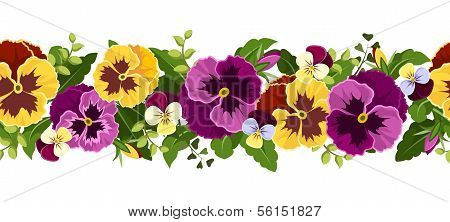 Horizontal seamless background with pansy flowers. Vector illustration.