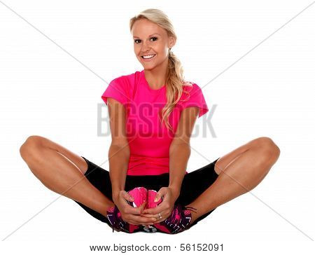 Pretty Athlete Stretching