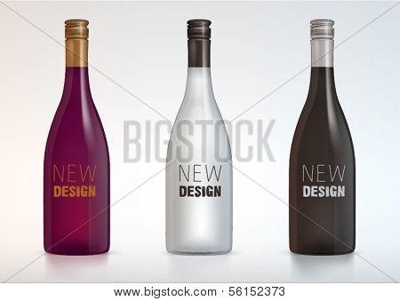 vector blank wine bottles for new design