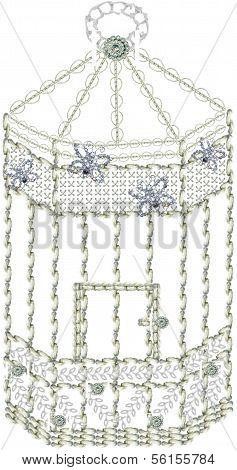 Decorative Hexagonal Embroidered Birdcage