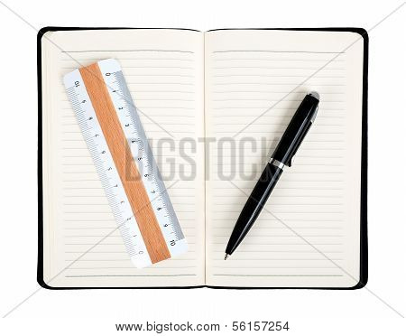 Notebook With Pen And Rule