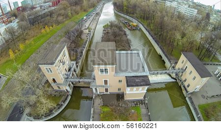Yauza river with two sluices of Syromyatnicheskiy waterworks, view from unmanned quadrocopter.