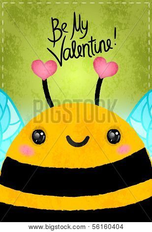 Valentines day greeting card with bee and heart