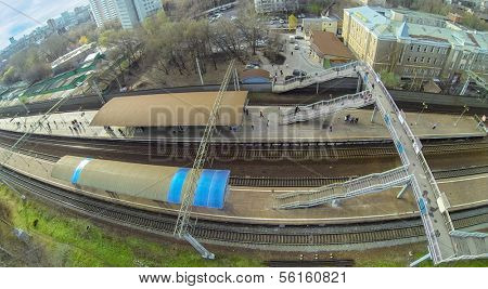 MOSCOW - OCT 25: View from unmanned quadrocopter to railway platform with people on October 25, 2013 in Moscow, Russia.