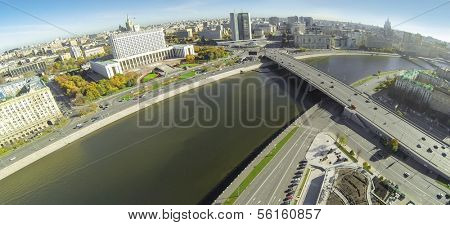 MOSCOW - OCT 12: Cityscape with White House, Novy Arbat and Bridge with car traffic over the river (unmanned drone view) on October 12, 2013 in Moscow, Russia.