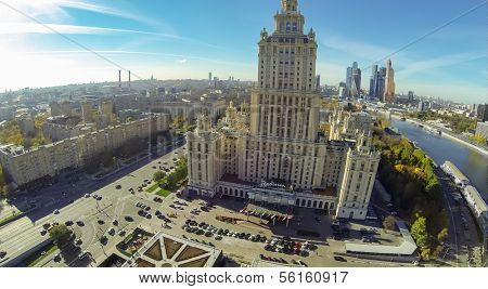 MOSCOW - OCT 12: Tall beautiful building of Radisson Royal Hotel (unmanned drone view) on October 12, 2013 in Moscow, Russia.