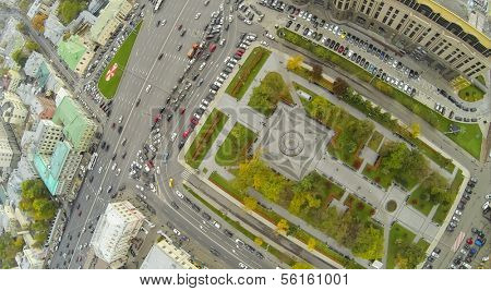 MOSCOW - OCT 10: The intersection of the Garden Ring and Kudrinskaya Square (view from unmanned quadrocopter) on October 19, 2013 in Moscow, Russia.