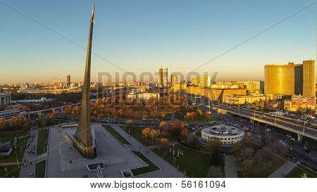 MOSCOW - OCT 19: View from unmanned quadrocopter to city panorama with Obelisk Conquerors of Space and Hotel Cosmos near Exhibition Center on October 19, 2013 in Moscow, Russia.