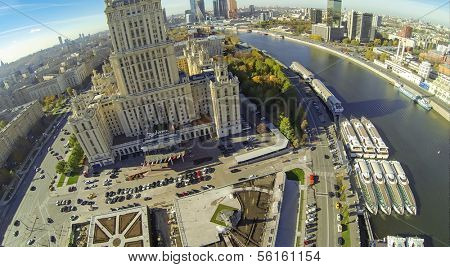 MOSCOW - OCT 12: View from unmanned quadrocopter on beautiful building of the Radisson Royal Hotel on October 12, 2013 in Moscow, Russia.