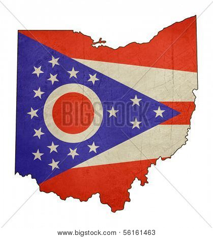 Grunge state of Ohio flag map isolated on a white background, U.S.A.