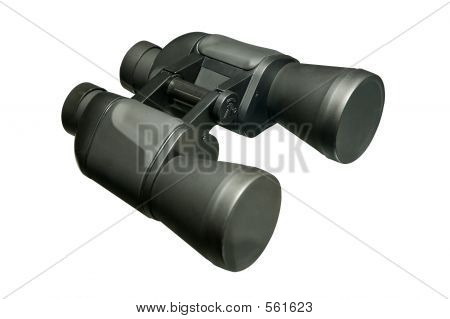 Black Binoculars Zoom Lenses Isolated Close-up