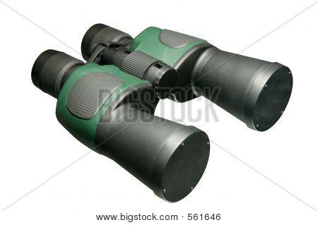 Black Binoculars Zoom Lenses Isolated Close-up