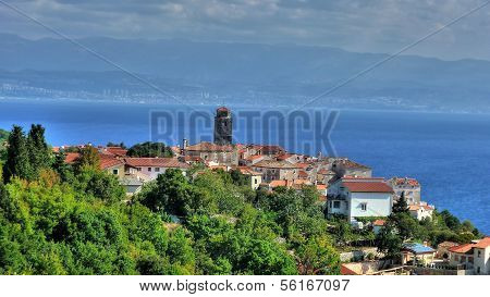Adriatic Town Of Brsec And Kvarner Bay