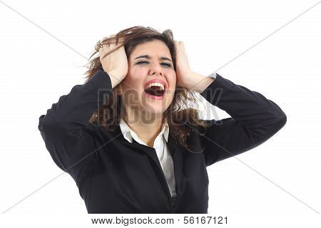 Bankrupt Businesswoman Crying Desolated
