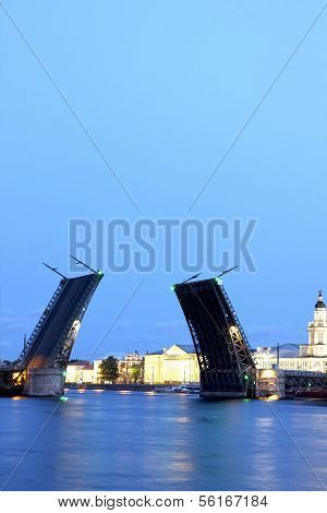 Drawbridge In St. Petersburg At White Night