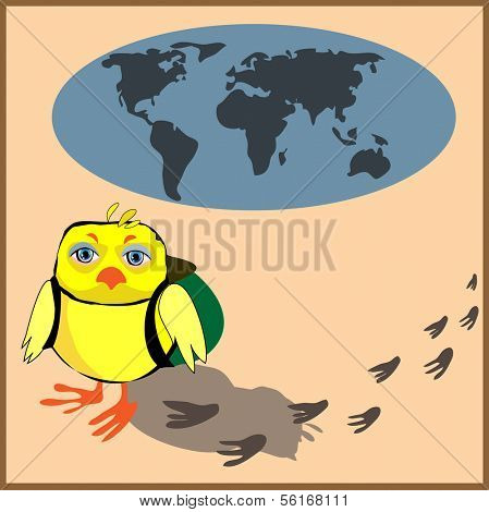 Cute chicken with a backpack in cartoon stile, vector illustration to the concept of tourism. Globe siluet in the background.