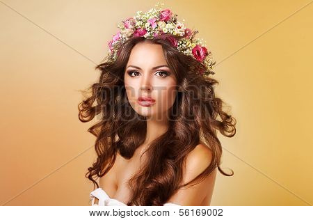 Elegance. Classy Adorable Lady With Flowers And Flowing Hair