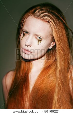 Bodyart. Face Of Fanciful Red Hair Woman With Creative Stagy Art Make-up